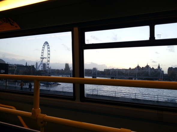 View of the London Eye & Big Ben from a London bus